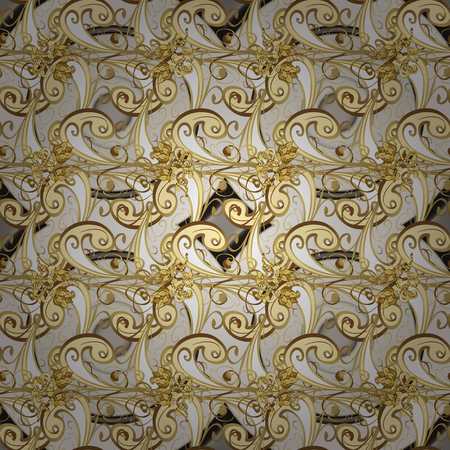 Classical luxury old fashioned damask ornament, royal victorian. Pictures in beige and yellow colors. Seamless texture. Exquisite floral baroque template. Vector damask seamless pattern background. Векторная Иллюстрация