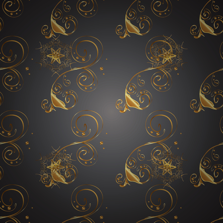 Patina. Pattern on gray and brown colors with golden elements. Gray backdrop with gold trim. Small depth of field. Seamless. Furniture in classic style. Luxury furniture. Carving. Illustration