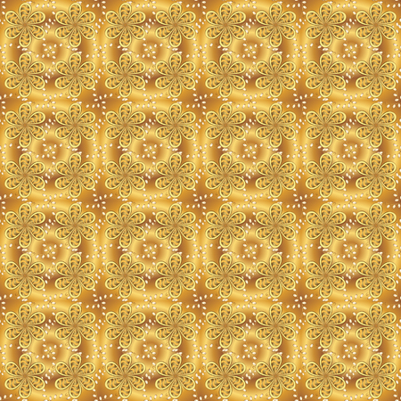 Fully editable. Suitable for fabric, paper, packaging. Vector pattern on yellow and brown colors. Seamless. For any design projects.