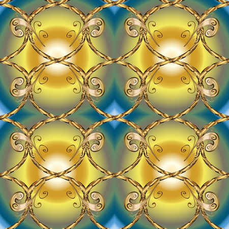 Stylish graphic pattern. Golden elements on yellow and neutral colors. Wallpaper baroque, damask. Floral pattern. Seamless vector background.