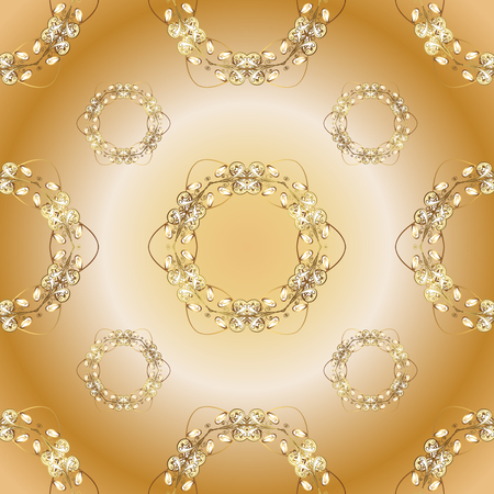 Seamless classic vector golden pattern. Seamless pattern on orange and beige colors with golden elements. Traditional orient ornament. Classic vintage background. Ilustração