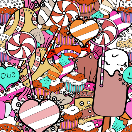 New year Vector illustration. Christmas vector seamless pattern with candies on black, white and pink background. Wrapping paper for Christmas gifts.