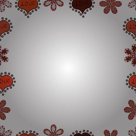 Doodles elements hand drawn frames. Seamless. Vector illustration. Illustration in white, orange and black colors.