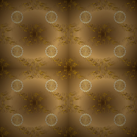 Traditional vector and golden pattern. Classic oriental pattern over beige and brown colors. Damask seamless ornament.