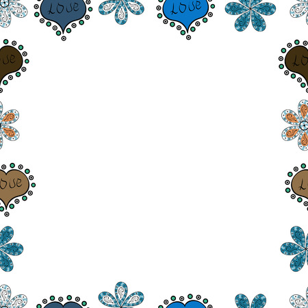 Vector illustration. Square frames doodles. Seamless pattern. Illustration in blue, black and white colors. Çizim