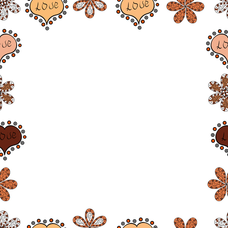 Hand drawn doodle frames. Vector. Picture in white, beige and brown colors. Seamless.