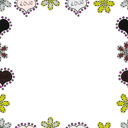 Doodles elements hand drawn frames. Illustration in white, neutral and black colors. Seamless. Vector illustration.