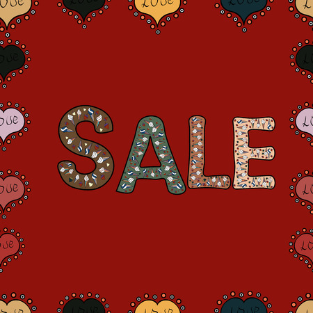 Sale banner template design, Big sale special offer. Vector illustration. Illustration in brown, red and black colors. End of season special offer banner. Seamless pattern.