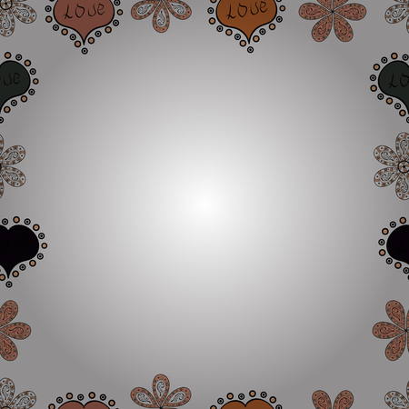 Vector illustration. Comic style doodle frame consists of black, orange and white border. Seamless.