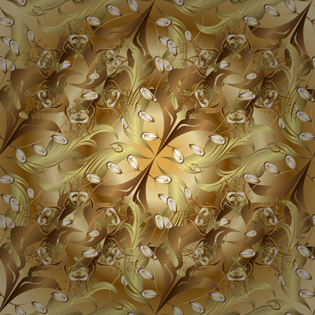 Golden floral ornament in baroque style. Damask seamless pattern repeating background. Antique golden repeatable wallpaper. Golden element on brown and beige colors.