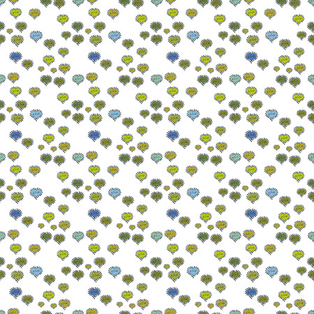 Illustrazione vettoriale. Modello di cuori senza soluzione di continuità. Poster di lettere tipografiche. Elementi sui colori verde, giallo e bianco. San Valentino. Modello per avvolgere, coprire.