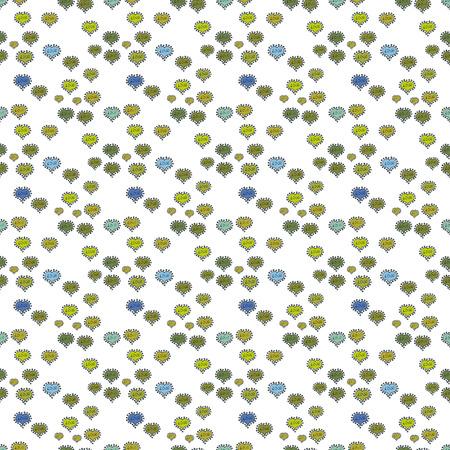 Vektor-Illustration. Nahtloses Herzmuster. Typografie-Schriftzug-Poster. Elemente auf grünen, gelben und weißen Farben. Valentinstag. Muster zum Einwickeln, Abdeckung.