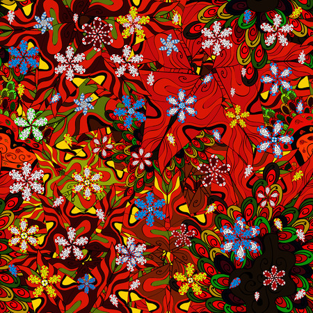 Seamless Sketch nice background. Abstract pattern for wrapping paper Vector illustration. Doodles black, brown and red on colors.