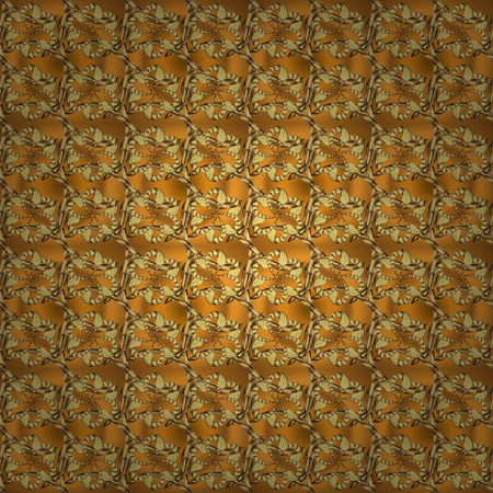 Yellow and brown backdrop with gold trim. Furniture in classic style. Seamless element woodcarving. Small depth of field. Carving. Pattern on yellow and brown colors. Luxury furniture. Patina.  イラスト・ベクター素材