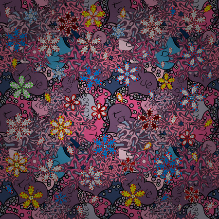 Nice background. It can be used on sketch, mug prints, baby apparels, wrapping boxes etc. Doodles cute pattern. Seamless Beautiful fabric pattern. Pink, purple and black on colors. Vector - stock.