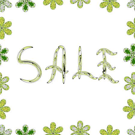 Banner de venta de otoño. Rotulación en colores blanco, amarillo y verde. Ilustración vectorial. Diseño vintage. Patrón sin costuras. Letras.