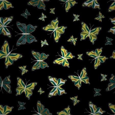 Random green, black and yellow butterflies cute pattern. Butterfly on green, black and yellow background. Seamless. Vector illustration. Simple feminine pattern for invitation, card, print. Illusztráció
