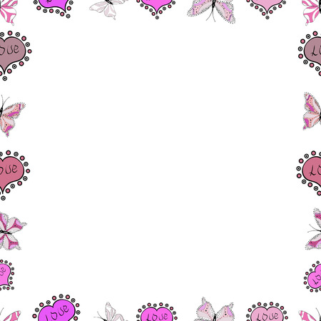 Quadrate frames doodles. Illustration in white, pink and neutral colors. Vector illustration. Seamless pattern.
