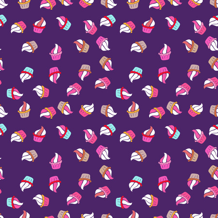 Nice birthday background on white, violet and pink. Vector illustration. Wrapping paper. Seamless pattern with cakes.