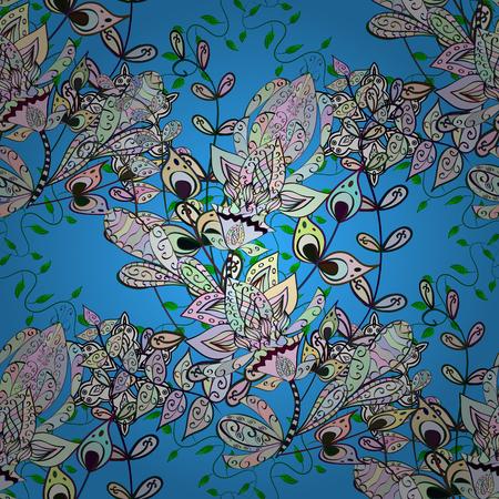 Flowers pattern. Flat Flower Elements Design. Vector illustration. Colour Spring Theme seamless pattern Background. Seamless Chichi fabric pattern.