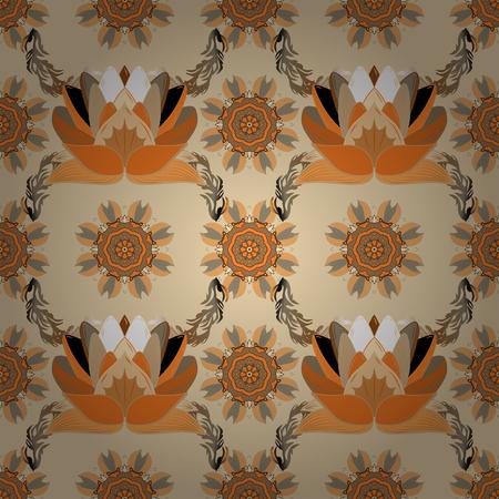 Détail de fleurs de marguerite de texture de modèle de tissu. Fleurs sur les couleurs beige, orange et marron. Vecteurs