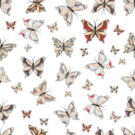 Perfect for surface textures, sketchs, web page backgrounds, textile. Colorful cute butterfly. Vector illustration. Pictures in beige, gray and white colors. Seamless pattern background.