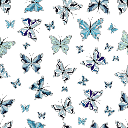Collection of colorful butterflies, flying in different directions. Abstract seamless pattern for girls, boys, clothes, sketch. Vector illustration.  イラスト・ベクター素材