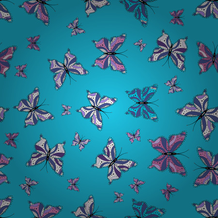 Vector. Seamless multicolored background with flying moths. Seamless background from bright butterflies. Beautiful colorful butterflies chaotically fly on blue, violet and white colors.