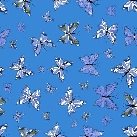 Vecteur. Motif papillon bleu, noir et blanc. Superbe arrière-plan pour la conception de tissu, papier, emballages et croquis. Sans couture.