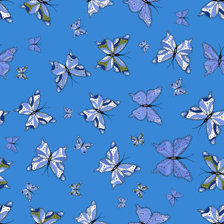 Vector. Butterfly pattern blue, black and whites. Superb background for design of fabric, paper, wrappers and sketch. Seamless. Ilustração