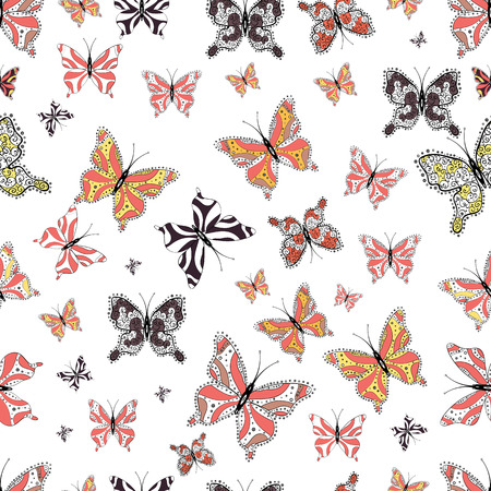 Background. In simple style. Abstract cute butterfly on white, black and pink colors.  illustration.