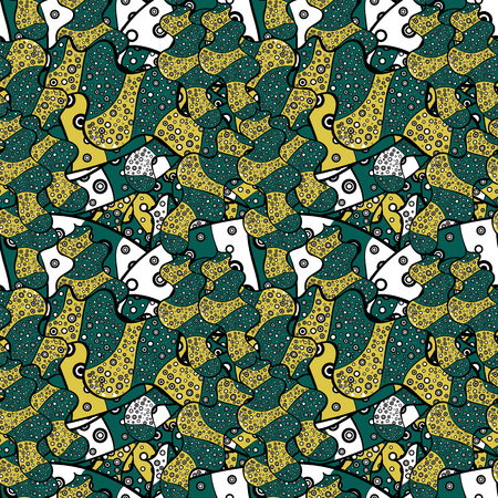 Cute fabric pattern. Flat doodles. Design. Elements green, yellow and black on colors. Seamless Print. Vector illustration.