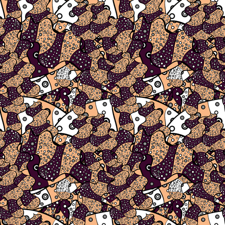 Design wrapping and gift paper, greeting cards, banner and posters design. Seamless pattern Print. Vector. Fashionable fabric pattern. Doodles beige, black and brown on colors. Ilustração