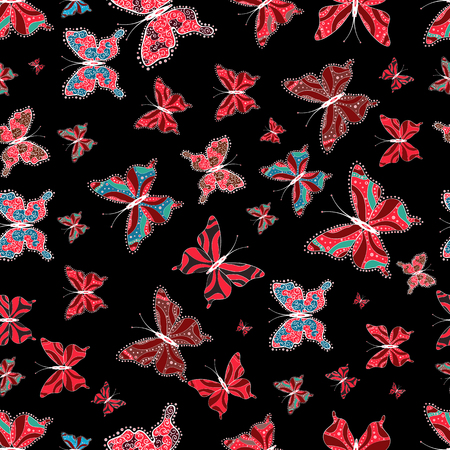 Vector illustration. Seamless of different multicolored butterflies. Decor on black, white and red background for clothing style. Vector butterflies for design. Collection of fantasy colorful pictures