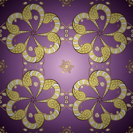 Golden snowflakes on purple and yellow colors. Christmas golden snowflake seamless pattern. Winter snow texture sketch. Symbol holiday, New Year celebration vector golden pattern.