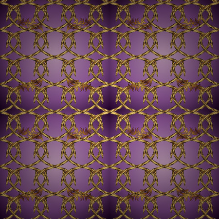 Oriental vector classic brown and purple and golden pattern. Seamless abstract background. Vector illustration. Vettoriali