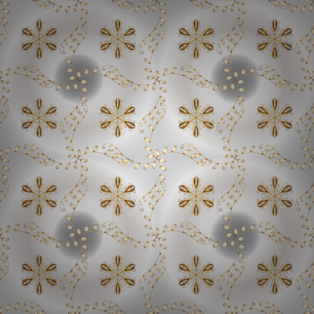 Golden pattern on gray and neutral colors with golden elements. Vector traditional orient ornament. Seamless classic golden pattern.
