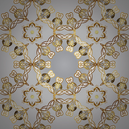 Seamless oriental ornament in the style of baroque. Traditional classic golden vector pattern on gray and white colors with golden elements. Illustration