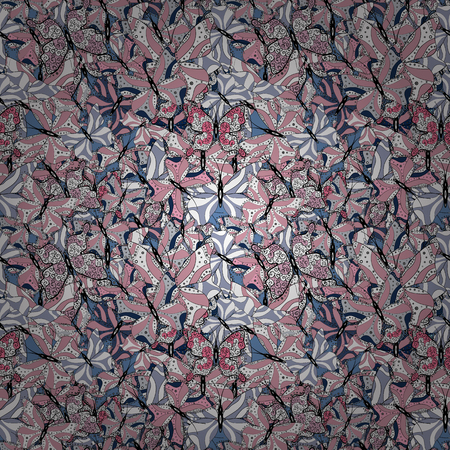 Superb background for design of fabric, paper, wrappers and wallpaper. Seamless. Butterfly pattern neutral, blue and whites. Vector.