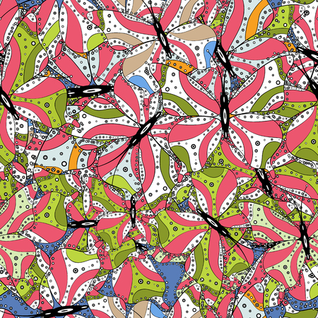 Vector - stock. Seamless Beautiful fabric pattern. Nice background. It can be used on sketch, mug prints, baby apparels, wrapping boxes etc. Doodles cute pattern. White, green and pink on colors. Illustration
