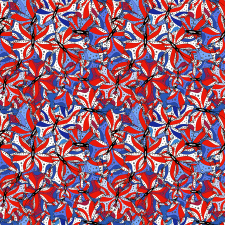 Vector. Vintage. Stylish fabric pattern. Seamless Doodles white, red and blue on colors. Ilustração