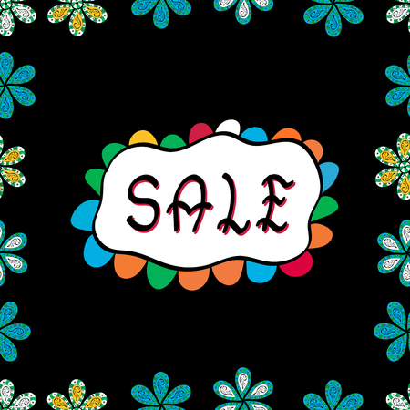 Promotion offer with nice elements decoration in black, white, blue colors. Vector. Sale banner template with cute elements, colorful background. Seamless pattern. Summer background. Card for shoping.