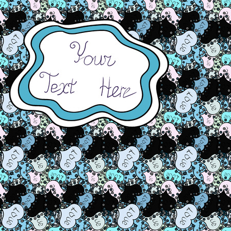 Vector. Seamless Beautiful fabric pattern. Doodles white, blue and black on colors.