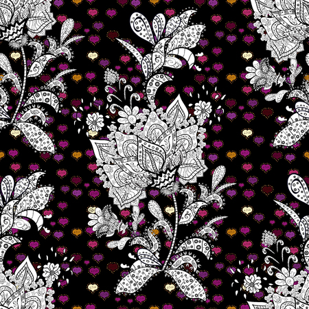 Flowers with leaves and chamomile with cornflowers on black, gray and white colors. Vector - stock. Seamless background pattern.