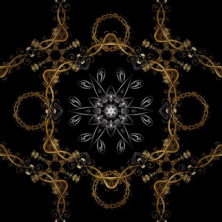 Ornate decoration. Vector illustration. Damask gold abstract flower seamless pattern on black and brown colors.