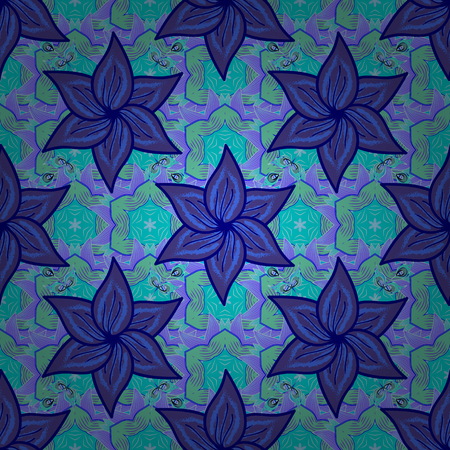 Colour Spring Theme seamless pattern Background. Flat Flower Elements Design. Cute flowers pattern with blue, violet and green colors. Vector Fashionable fabric pattern.