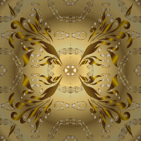 Damask seamless pattern repeating background. Golden floral ornament in baroque style. Golden element on yellow and beige colors. Antique golden repeatable wallpaper.