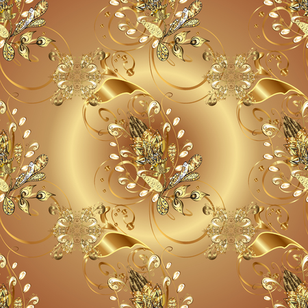 Seamless golden pattern. Beige and brown colors with golden elements. Gold metal with floral pattern. Vector golden floral ornament brocade textile and glass pattern. Illustration