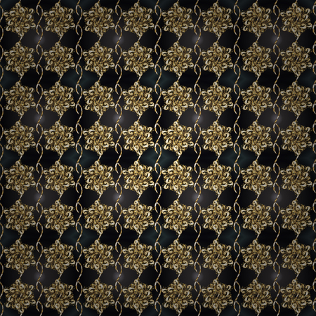 Luxury furniture. Seamless element woodcarving. Pattern on brown and gray colors with golden elements. Furniture in classic style. Brown and gray backdrop with gold trim. Small depth of field.