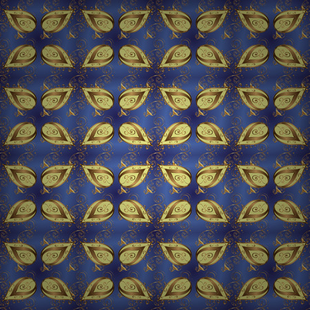 Damask seamless pattern for design. Vector seamless pattern on violet and blue colors with golden elements.